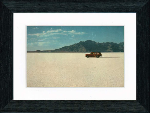 Vintage Postcard Front - Woody Station Wagon at Bonneville Salt Flats