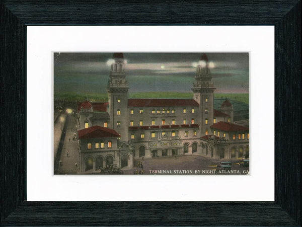 Vintage Postcard Front - Atlanta Terminal Station by Night