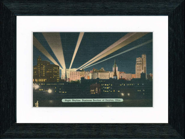 Vintage Postcard Front - Dayton Ohio—Night Skyline