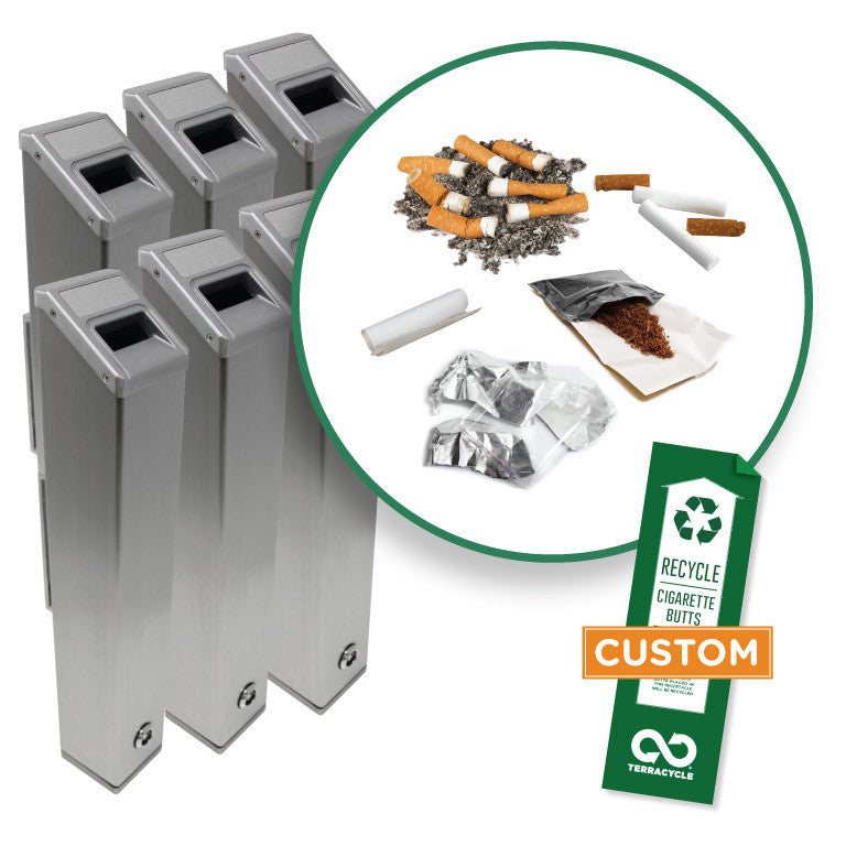 Cigarette Receptacles (6-Pack with Customized Stickers)