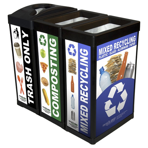 ErgoCan Three-Stream Recycling Station- Custom