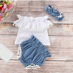 Load image into Gallery viewer, Off-shoulder T-shirt Tops+Denim Shorts With Bow Headband