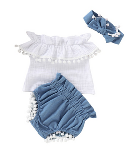 Off-shoulder T-shirt Tops+Denim Shorts With Bow Headband