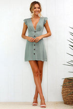 Load image into Gallery viewer, Frill Sleeve Button Front Mini Dress