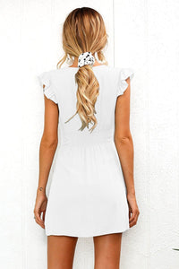 Frill Sleeve Button Front Mini Dress