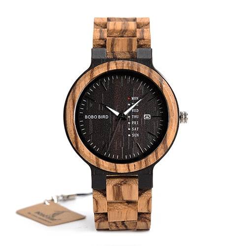 Wood Men Watches  Quartz Wristwatch Male Show Date and Week Timepieces