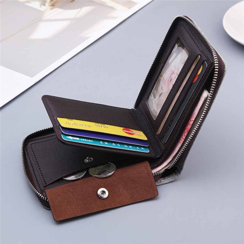 Men's Canvas Purse Short Zipper Around Student Mini Wallet Hand Bag