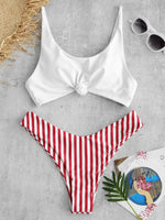 Load image into Gallery viewer, Swimsuit Scoop Neck Striped Swimwear Knot Bow