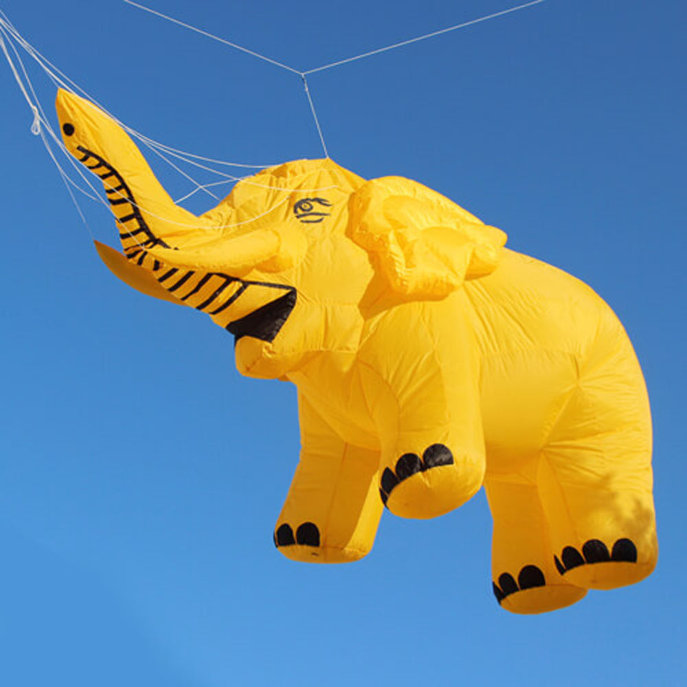 Yellow 15ft Elephant Custom Kite Inflatable Line Laundry