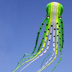 Large Gradient Green 3D 49ft Tube-Shaped Parafoil Octopus Kite