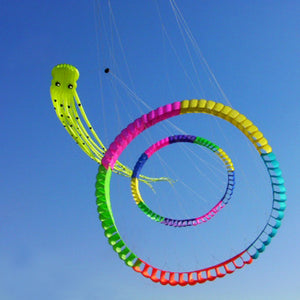 Large Light green 75ft Tube-Shaped Parafoil Octopus Kite