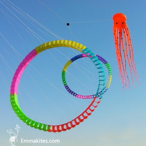 Large Red 75ft Tube-Shaped Parafoil Octopus Kite