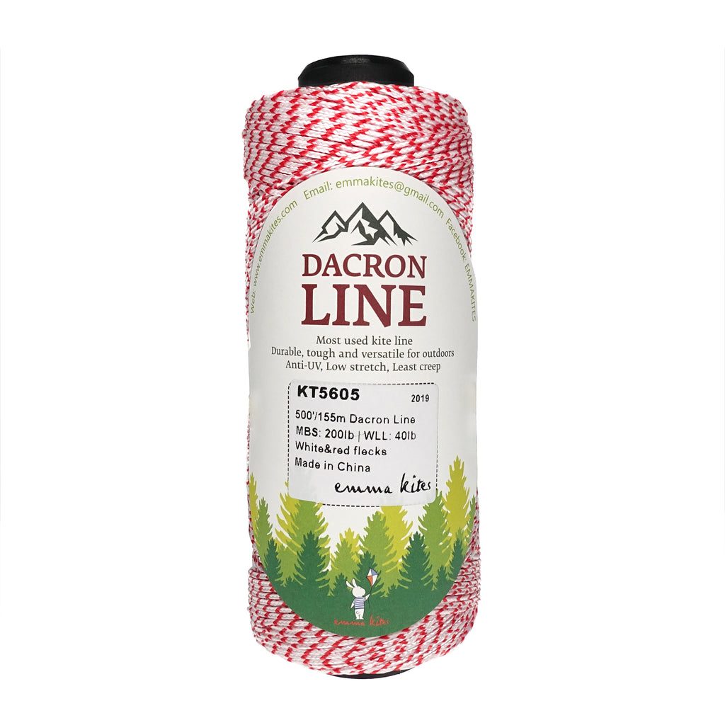 a spool of Emma Kites white red flecks Dacron kite line