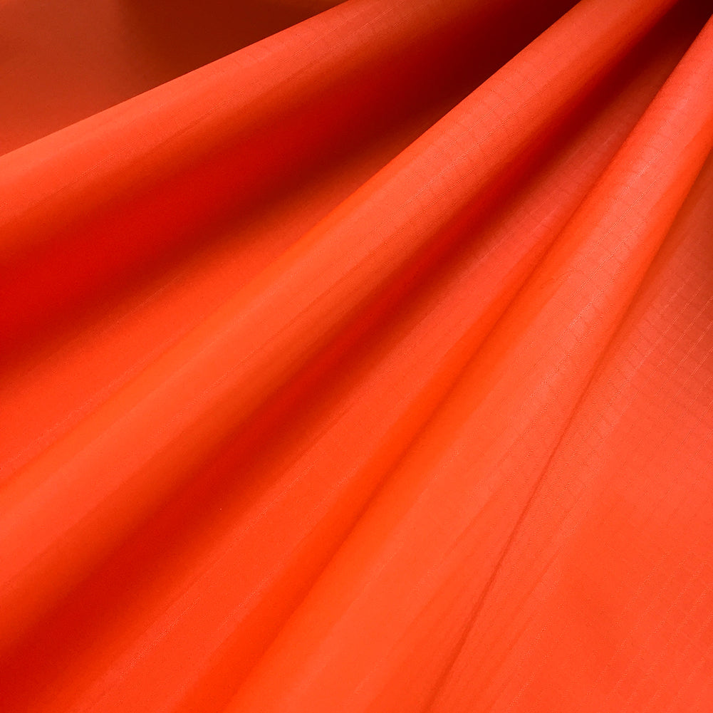 Fluorescent Orange 40D PU Coated Ripstop Nylon Fabric
