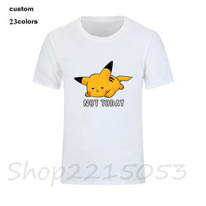 Not-Today Anime Nintendo not today Pikachu Pokemon Video Game Men manga tshirts japanese cartoon t-shirt male kids game t shirts