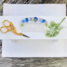 Load image into Gallery viewer, pair of scissors with wildflower hair comb and piece of dill