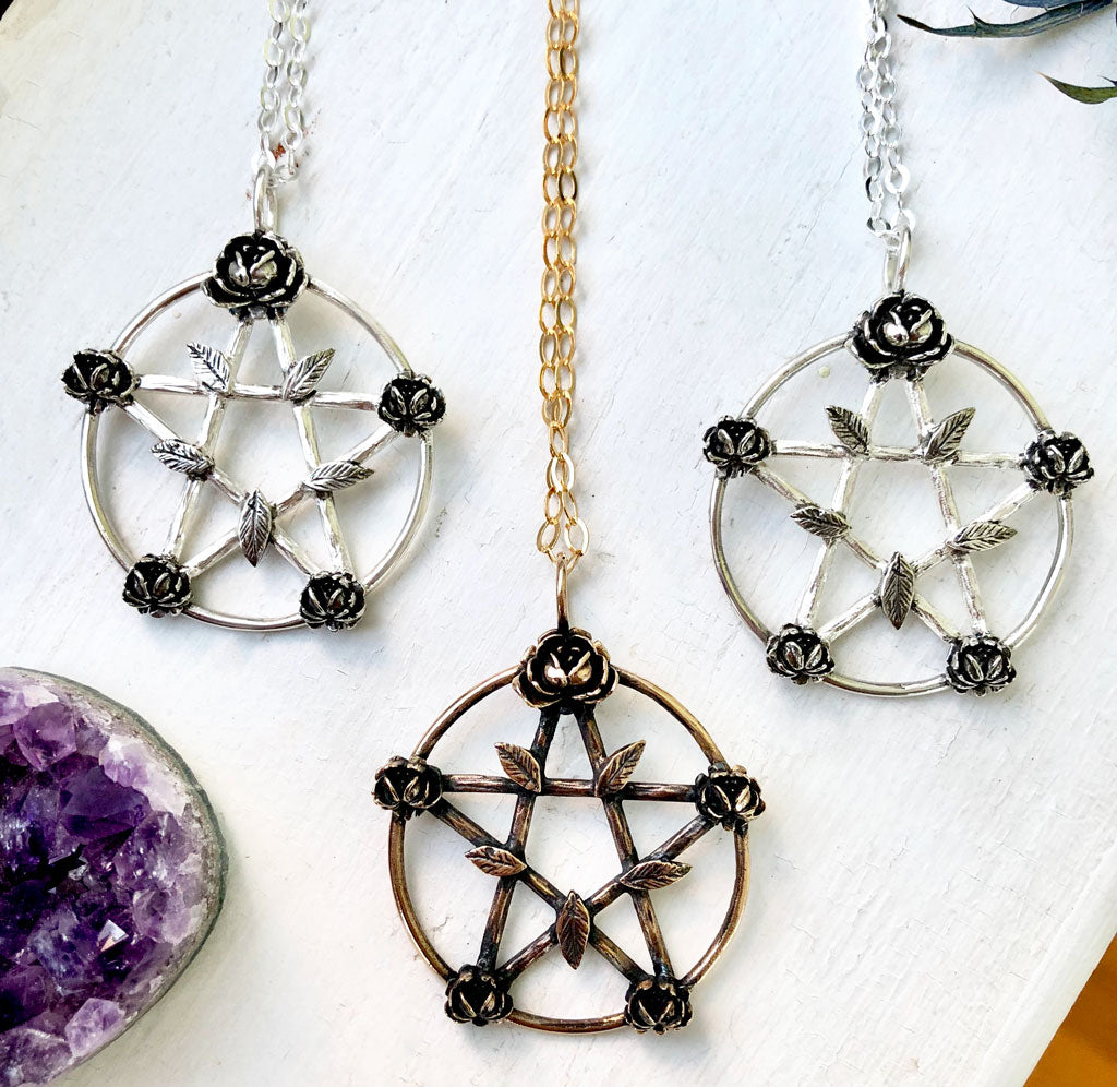 pentagram necklace with roses