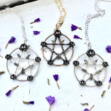 Load image into Gallery viewer, pentacle pendant with twigs and flowers