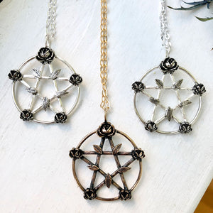 sterling pentagram with flowers