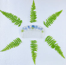 Load image into Gallery viewer, blue delphinium hair comb with green ferns surrounding