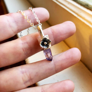 Amethyst Crystal Point Necklace Made by Ivry Belle Jewelry / Amethyst Crystal Point Necklace