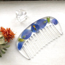 Load image into Gallery viewer, Wildflower Hair Comb / Blue Delphinium Flower Hair Comb Made by Ivry Belle Jewelry