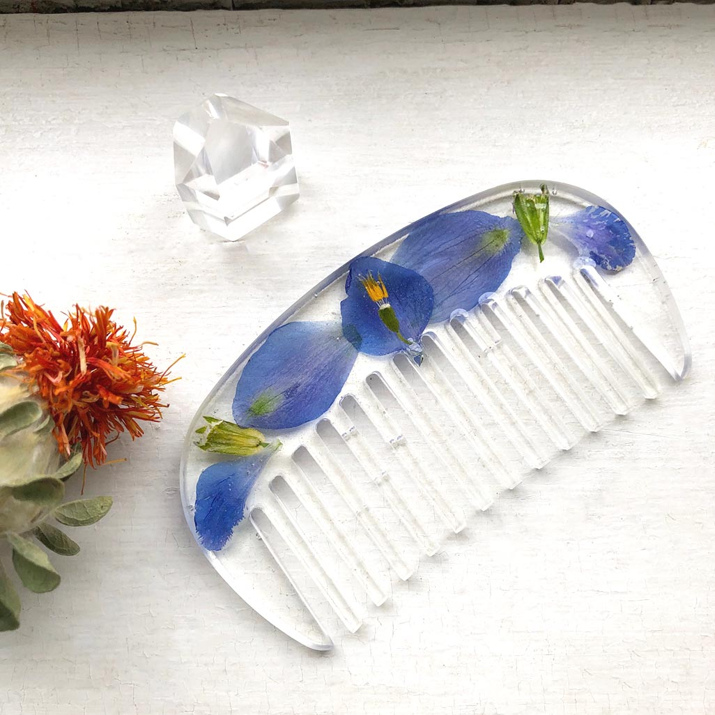 Wildflower Hair Comb / Blue Delphinium Flower Hair Comb Made by Ivry Belle Jewelry