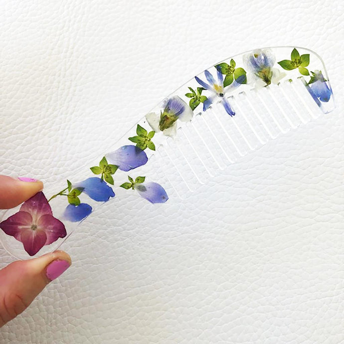 blue and green wildflower hair comb