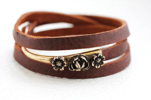 bronze hook bracelet with flowers