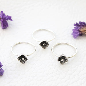 sterling flower rings