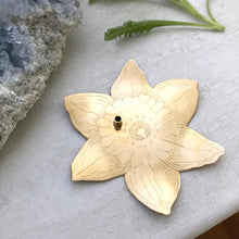 Load image into Gallery viewer, Brass Daffodil Incense Dish / Brass Daffodil Incense Dish Handmade by Ivry Belle Jewelry