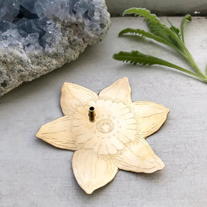 Brass Daffodil Incense Dish / Brass Daffodil Incense Dish Handmade by Ivry Belle Jewelry