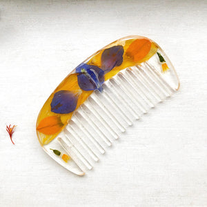 Wildflower Hair Comb Made by Ivry Belle Jewelry / Blue Delphinium and Sunflower Hair Comb
