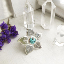 Load image into Gallery viewer, Turquoise Flower Ring with Lilac Leaves Made by Ivry Belle Jewelry / Turquoise Flower Ring
