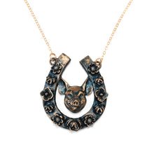 Load image into Gallery viewer, Horseshoe Pendant with Pig / Horseshoe Pendant with Pig Made by Ivry Belle Jewelry