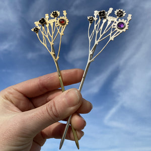 Floral Cirsium Hair Pin / Handmade by Ivry Belle Jewelry