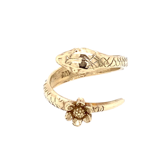Gold Snake Ring Made by Ivry Belle Jewelry / Gold Snake Ring