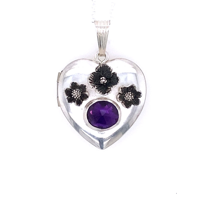 Amethyst Heart Locket / Handmade by Ivry Belle Jewelry