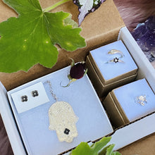 Load image into Gallery viewer, Hamsa Protection Parcel / Gift Box made by Ivry Belle Jewelry