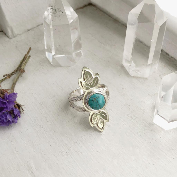 Turquoise Ring with Anemone Leaves Made by Ivry Belle Jewelry / Turquoise Ring