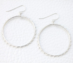sterling hoops with raised texture