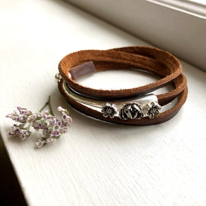 Floral Wrap Bracelet in Sterling Silver / Made by Ivry Belle Jewelry