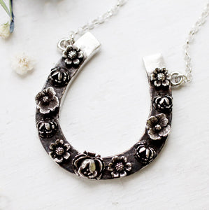 sterling horseshoe pendant with flowers