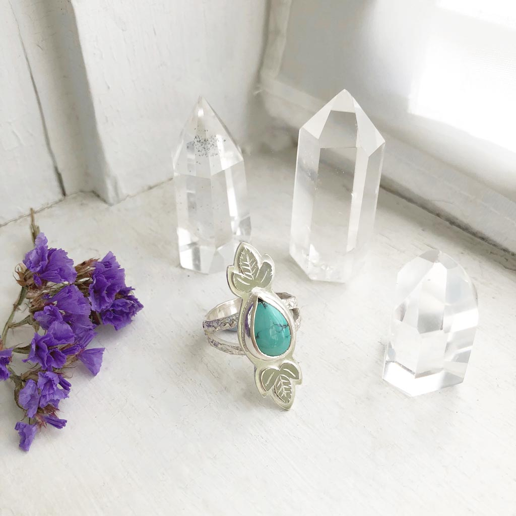 Turquoise Ring with Anemone Leaves / Made by Ivry Belle Jewelry