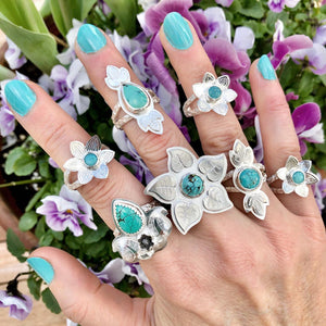 Turquoise Flower Ring with Lilac Leaves Made by Ivry Belle Jewelry / Turquoise Flower Ring