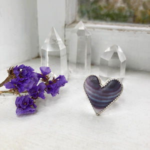 Wampum Heart Ring Handmade by Ivry Belle Jewelry / Size 8