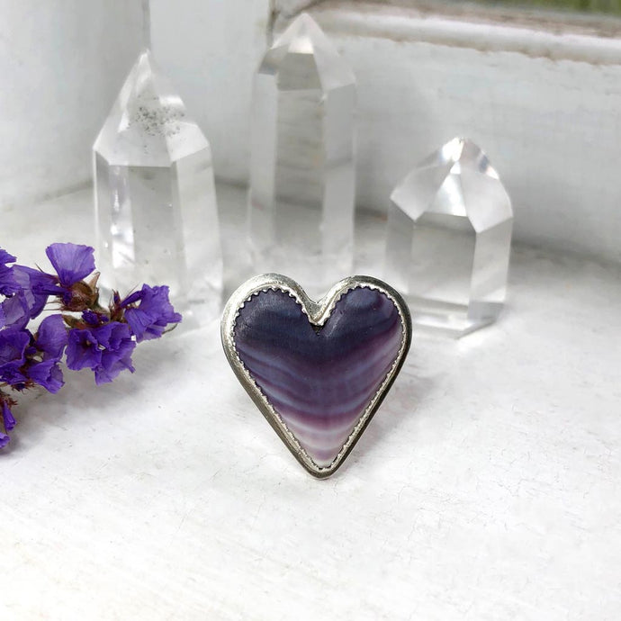 Wampum Heart Ring Handmade by Ivry Belle Jewelry / Size 6.5