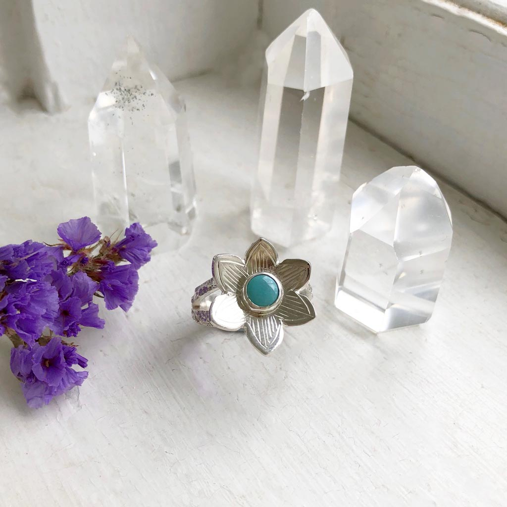 Turquoise Wood Anemone Flower Ring Made by Ivry Belle Jewelry / Turquoise Ring