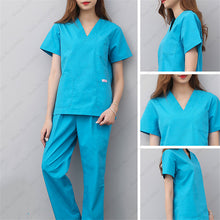 Load image into Gallery viewer, Adult Nurse Doctor Medical Uniform Nursing Scrubs Surgical Suit Lab Clinical Top T-shirt Pants Pharmacy Beauty Hospital Coatumes