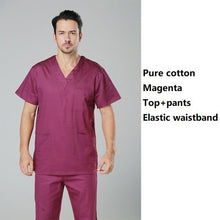 Load image into Gallery viewer, hospital doctor surgical scrub suits men pure cotton green medical uniforms nursing clothes men